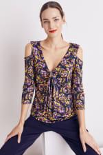 Floral Paisley Cold Shoulder Knit Top - Misses - 15