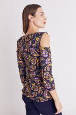 Floral Paisley Cold Shoulder Knit Top - Misses - 18
