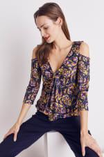 Floral Paisley Cold Shoulder Knit Top - Misses - 16