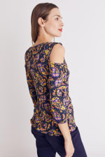 Floral Paisley Cold Shoulder Knit Top - Misses - 17
