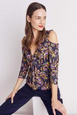Floral Paisley Cold Shoulder Knit Top - Misses - 13