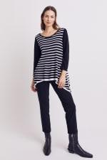 Roz & Ali Contrast Stripe Sweater - 1