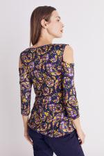 Floral Paisley Cold Shoulder Knit Top - Misses - 14