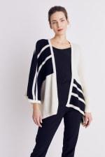Roz & Ali Colorblock Open Front Sweater Poncho - 1