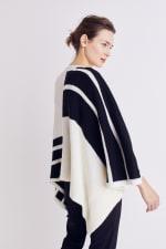 Roz & Ali Colorblock Open Front Sweater Poncho - Black/Cream - Back