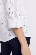 Roz & Ali Eyelet Knit Pintuck Popover - White - Detail