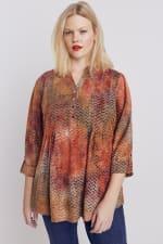 Roz & Ali Tie dye Clip Jaquard Popover - Plus - Rust - Front