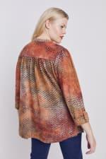 Roz & Ali Tie dye Clip Jaquard Popover - Plus - Rust - Back