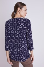 Roz & Ali Navy Dot Diamond Pintuck Popover - Navy-Tan - Back