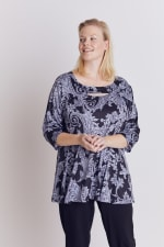 Paisley Keyhole Fit and Flare Knit Top - Plus - 3