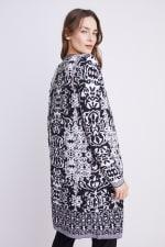 Roz & Ali Scroll Coatigan Sweater - Black/White - Back
