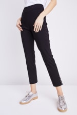 Tummy Control Superstretch Ankle Pant With Grommet Rivet Tape Trim - 33