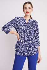 Roz & Ali Blue Floral Pintuck Popover - Navy/Ivory - Front