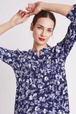 Blue Floral Pintuck Popover - Misses - 10