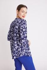Blue Floral Pintuck Popover - Misses - 9