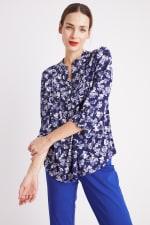 Blue Floral Pintuck Popover - Misses - 12