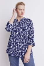 Roz & Ali Blue Floral Pintuck Popover - Plus - Navy/Ivory - Front