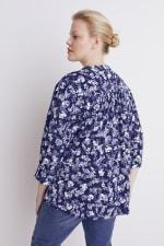 Roz & Ali Blue Floral Pintuck Popover - Plus - Navy/Ivory - Back