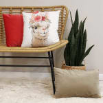 Boho Chic Flowers and Llama White Square Pillow - 3