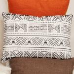 Black And White Tribal Design Rectangular Lumbar Pillow - 4
