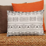 Black And White Tribal Design Rectangular Lumbar Pillow - 5