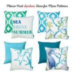 "Set of 4 18"" Sea Shine Summer Throw Pillow Cover in Multicolor - 4"