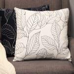Black on White Leaf Outline Square Pillow - 5