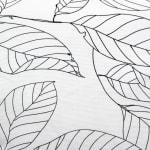 Black on White Leaf Outline Square Pillow - 3