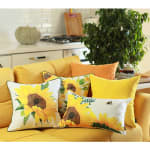 """Set of 2 20"""" Sunflower Bee Lumbar Pillow Cover in Multicolor - 4"""