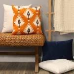Orange Ikat Design Square Pillow - 3