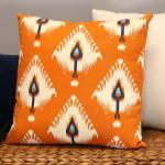 Orange Ikat Design Square Pillow - 4