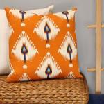 Orange Ikat Design Square Pillow - 5