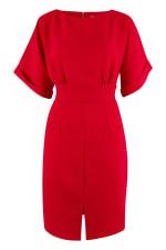 Red Turn Up Sleeve Split Front Dress - 4