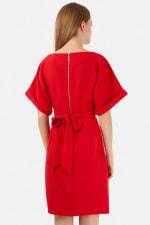 Red Turn Up Sleeve Split Front Dress - 2