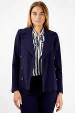 Navy Double Breasted Button Collar Jacket - 4