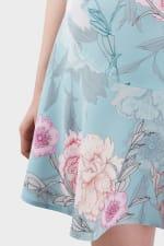 Multi V-Neck Floral Flared Skirt Dress - 3
