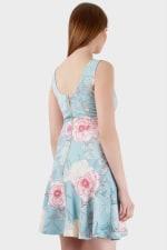 Multi V-Neck Floral Flared Skirt Dress - 2