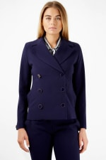 Navy Double Breasted Button Collar Jacket - 3