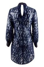 Navy High Collar Long Sleeve Button Cuff Blouse - 5