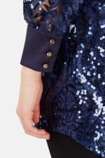 Navy High Collar Long Sleeve Button Cuff Blouse - 3