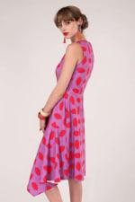 Purple Asymmetric Detail V-Neck Dress - 6