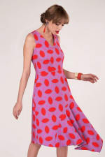Purple Asymmetric Detail V-Neck Dress - 4