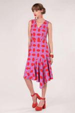 Purple Asymmetric Detail V-Neck Dress - 1