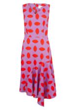 Purple Asymmetric Detail V-Neck Dress - 3