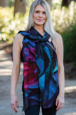 Leela Printed Wool Shawl - Black / Sapphire / Rose - Front
