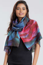 Leela Printed Wool Shawl - Black / Sapphire / Rose - Back