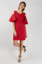 Red Open Shoulder V-Neck Sheath Tunic Dress - 4