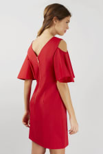 Red Open Shoulder V-Neck Sheath Tunic Dress - 2