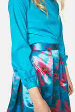 Turquoise Floral Pleated Skirt - 3