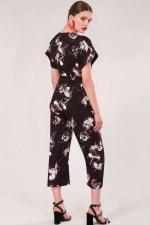 Black Floral Wrap Over Tie Front Jumpsuit - 2